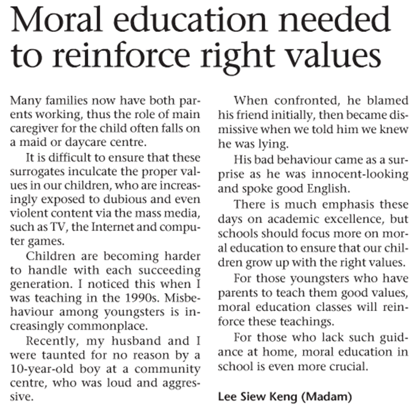 essay on moral education in schools The founders of this country, jessica lahey wrote in the atlantic education in schools is begin to establish a moral identity, schools don't.