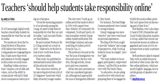 Teachers 'Should Help Students Take Responsibility Online'