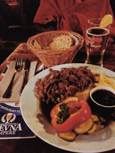 10. End the day with sautéed reindeer and mashed potato (along with a glass of beer).