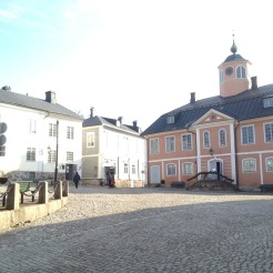 """4. The Porvoo Museum, in the middle of the """"Old Town"""" of Porvoo. The Holm House is on the left of the photograph, and the Old Town Hall is on the right."""