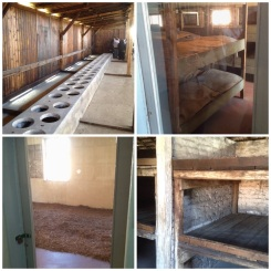 6. Auschwitz I. Living conditions were horrid. From top left, clockwise: toilets; bunks which were often shared by two or three prisoners; a room laid with hay, and occupied by 200 crammed individuals; as well as bunks which housed five or six in a pallet. Some of the later wooden buildings were designed originally as stables, but used instead to house the Poles.