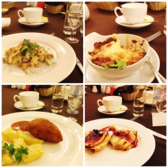 "8. Four-course Russian dinner: ""Vinaigrette: salad of potatoes, carrots, red onions, pickles and minced meat; baked mushrooms in a cream sauce with cheese; chicken Kiev; as well as blinis with strawberry jam."
