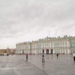 10. View of the palace square, with the State Hermitage on the right and the Alexander Column on the left (with an angel holding a cross).