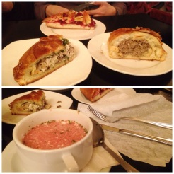 """12. """"Kulyebyaka"""" with meat pie, rabbit and mushroom pie, cowberry pie in the top picture, and the borsch soup in the bottom picture. The rabbit and mushroom pie was particularly good."""