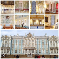 14. The interior of Catherine's Palace: dining and banquet halls, bedrooms, and function rooms. The high columns meant wallpapers were of different colours, and the ceilings were often adorned with paintings.