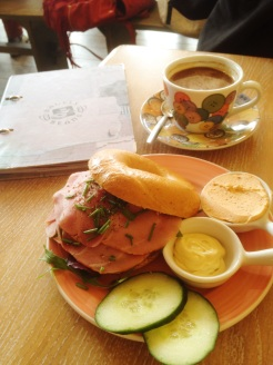 4. Brunch at Bagels and Beans: ham on tomato bagel, served with a honey mustard sauce and a sundried tomato and pesto cream cheese. Chain café which serves good bagels.