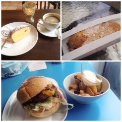 4. Breakfast of a lemon cake, lunch of a gluten-free beef sandwich (my first time), and dinner of cheeseburger and potato wedges.