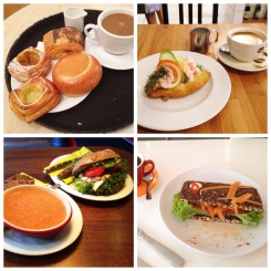4. From top-left, clockwise: breakfast of marzipan, cream, and rhubarb Danish pastries; lunch of a fish and prawn smørrebrød (open-faced sandwich); tomato soup with a chicken and mango sandwich; and a chorizo sandwich.