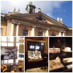 6. Take the guided tour around the Nobel Museum. There is not much to see around the small complex, so the guide provides good context to the famous will, the selection of the laureates, and the museum building. Bottom, from left to right: Alfred Nobel and his invention, the dynamite and detonator; the prize ceremony and the award itself; and the awarding institutions of the five (plus one) awards.