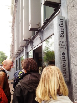 2. Entrance to the museum in Anne Frank's House, the hiding and diary-writing place of Anne Frank and her family. We had to queue an hour before entry (tickets can be booked online, though they are often sold out very quickly), but it was well worth it. Walking through the set route you witness the cramped conditions of the hideout and experience the anxiety of the family to remain out of sight and sound of the workers who – except a few trusted helpers – were unaware of their presence. Succinct and comprehensive: you see original pages of the diary, short interviews with the helpers, and the remaining furniture.