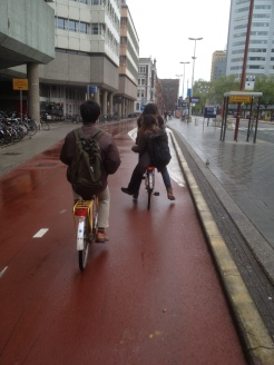 7. Cycling through the (rainy) streets of Utrecht.