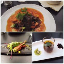 17. Meal with @ReporterPhoenix (whom I had met through Twitter): asparagus with parma ham, whale steak (my first time) with gratinated potatoes, and chocolate mousse with a passion fruit coulis.