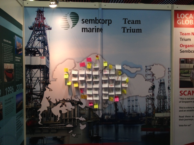 Wall of well-wishes to Sembcorp Marine and Singapore.