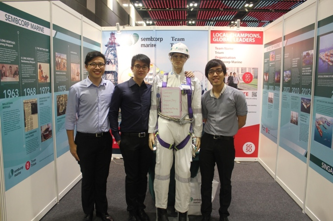 With Ho Yeung and Fabian, and our exhibition booth - the museum of Sembcorp Marine's Singapore Story - in the background.