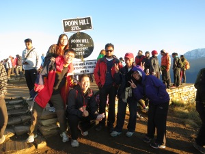 Joyce and Reuben trekking with friends at in Poon Hill, Nepal.