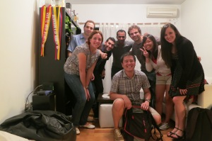 Joyce and Reuben with their Argentinian friends in a Buenos Aires apartment in Argentina, after a birthday party.