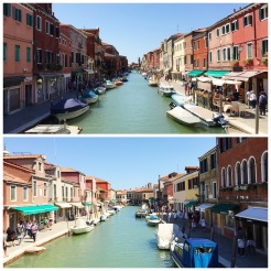 14. A view of the canals and buildings at Murano.