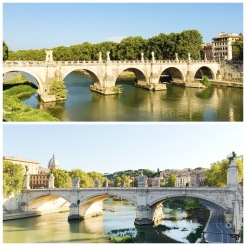 7. On the top is the Pont Sant'Angelo (Bridge of Hadrian), which is decorated with the sculptures of 10 angels. On the bottom is the Ponte Vittorio Emanuele II – just a short walk away – which has high socles holding bronze-winged Victories. Both bridges cross the Tiber river, the third-longest river in Italy and the main watercourse of Rome.