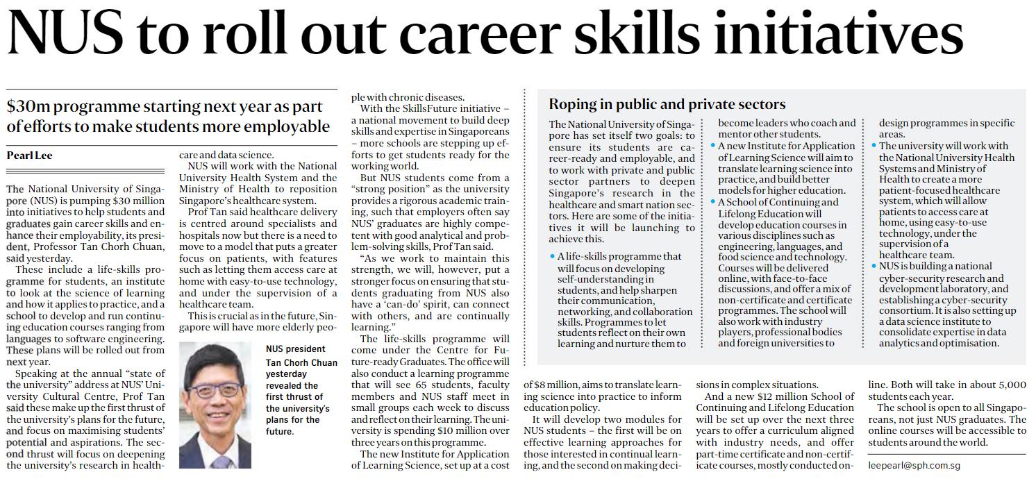 the complementarity of nus s career skills initiatives to roll out career skills initiatives