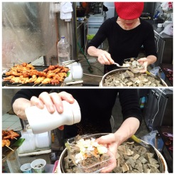 10. Stewed beef tripe, which comes from the lining of a cow's stomach chambers, was sold by an enthusiastic lady. The tripe is topped with some onions and chilli powder.