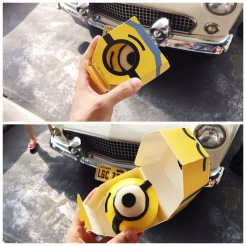14. Within Universal Studios Japan were many snacks shaped like cartoon characters. This is a savoury bun shaped like a minion, containing stewed meat.