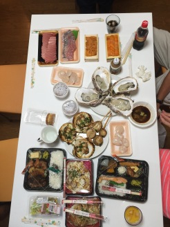 15. With the wide selection on offer, we made a return trip to the Kuromon Ichiba a few evenings later, and bought a range of raw (oysters, tuna, uni, fish, and scallops) and cooked items (bento sets, scallops, salads, and Japanese pancakes) for dinner.