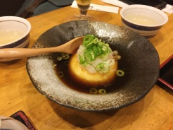 18. In the same restaurant we had agedashi tofu – or lightly deep-fried tofu – which was topped with dried bonito flakes and presented in very intricate fashion.