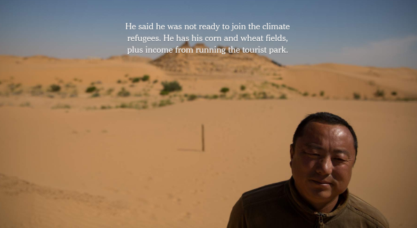 """""""Living in China's Expanding Deserts"""" (Screen-shot / """"The New York Times"""")."""