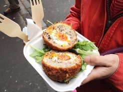 9. A scotch egg - a hardboiled egg wrapped in sausage meat, before it is coated in breadcrumbs and deep-fried thereafter - from one of the many food stalls in Borough Market.
