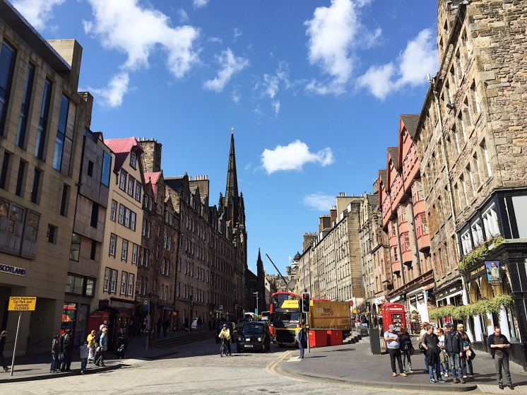 1. At the heart of Edinburgh, Scotland is The Royal Mile, the main thoroughfare of the capital city.