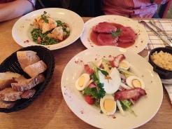 8. Dinner of stewed ham, stuffed chicken, and fried chicken salad.