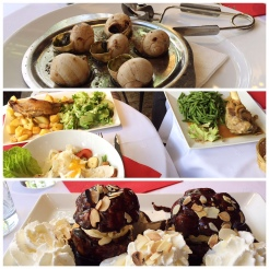 18. Lunch of escargots, caesar salad, duck confit, lamb shank, and chocolate profiteroles with ice cream. Something we noticed was the pace of mealtimes and the predilection of locals to dine alfresco - even in the hot summer - to have coffee, have long chats, and people-watch.