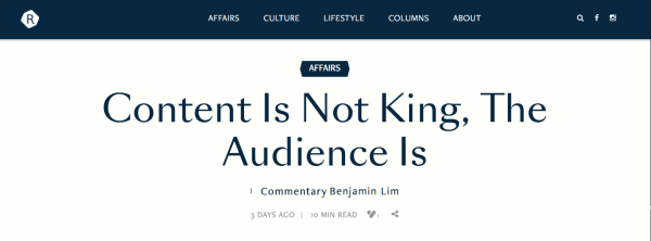 """Content Is Not King, The Audience Is"""