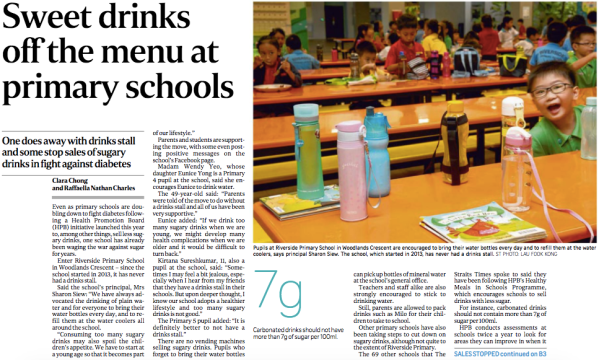 Sweet Drinks Off the Menu at Primary Schools (ST, Nov. 16).