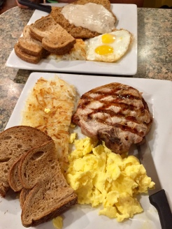 5. Our first breakfast was at Marilyn's Café, in the Tuscany Suites and Casinos. We shared pork chops and eggs (with scrambled eggs, hash browns, and toast) as well as country fried steak and eggs (with eggs sunny side up, hash browns, and toast). Like most of the other meals, we researched some cheaper food spots beforehand and did not overspend.