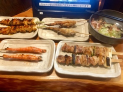 3. Yakitori - or skewered meats - at Torikizoku. I had the shrimp, chicken thighs and breasts in different sauces, and chicken wings. The shrimp and the chicken thighs were especially delicious.