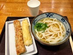 7. One of my favourite, simple Japanese dishes: Udon with tempura (fish cake and squid).