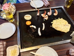 9. You can choose to prepare the dishes yourself, but the staff are on hand to help you (which happens most of the time). We had grilled shrimps, scallops, and squid, an okonomiyaki, as well as yakisoba, or stir-fried buckwheat noodles.