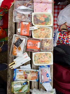 16. We wanted to have a picnic at the Shinjuku Gyo-en National Garden, so we made a trip to the Isetan Food Hall and each of us picked up individual food items: Fried rice, beef rice bowls, fried meats and seafood, and noodles. There was plenty of sashimi too.
