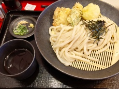 18. A variant of the udon-and-tempura combination, this is kamaage udon, which is cooked udon dipped in cold, concentrated dashi sauce.