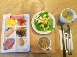 20. Breakfast served at the hotel, a mix of Japanese and Western dishes.