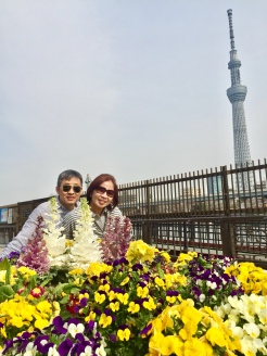 27. Parents posing with flowers alongside the Sumida River, with the Tokyo Skytree in the background. This was at the end of a Tokyo Cruise which started from Odaiba, a shopping and entertainment district sited on a man-made island.