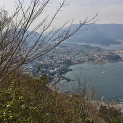 35. After Oishi Park and a lunch - included in the one-day tour package - we made our way up the Lake Kawaguchi Mount Tenjō Ropeway, which offers views of Lake Kawaguchi and Mount Fuji. It started to get a little foggy and cold, but even so the experience was superb.