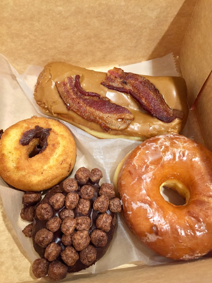 1. We started the trip with a box of Voodoo Doughnuts, and in particular the bacon-maple bar was excellent. In fact, the combination of the sweet maple and the savoury bacon was adopted across a number of other dining establishments we visited.
