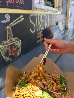 8. Portland is famed for its over 500 food carts, which are organised in outdoor food courts as pods. We had Stretch the Noodle, specialising in hand-pulled noodles which are made on the spot. This was a huge portion - which we shared - for eight dollars.
