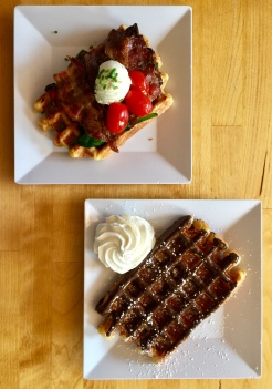 22. The next day, we had sweet and savoury waffles at The Waffle Window. In general, the food in Portland was very affordable, and there is no sales tax. This means that patrons are expected to bus their own tables, but it does not feel like a big deal.