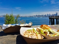 4. Lunch with a view: At Marination Ma Kai, we had a breakfast burrito, tacos, sliders, and a macaroni salad with cubed spam.