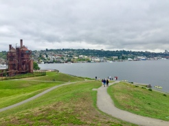26. Gas Works Park was the next location on a gloomy day. The public park is built on the site of the former Seattle Gas Light Company gasification plant, and the small park has a small hill which overlooks the river as well as a nearby playground.