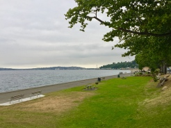 29. Alki Beach was our last stop for the day, though on a gloomy evening the highlights were the dining establishments on the other side of the road, even if there was the occasional jogger or biker. Alki Beach is located in West Seattle.