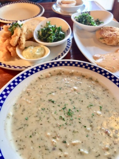 30. We then had dinner at Duke's Seafood and Chowder. The food is not cheap, but we went during happy hour when the prices were lowered. We shared a clam chowder, calamari strips, crab cake, and a devilled egg.
